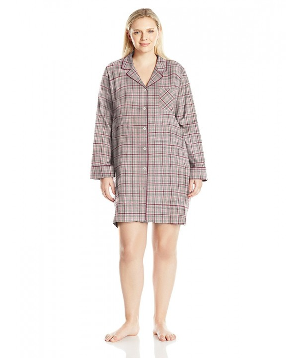 Nautica Womens Flannel Sleepshirt Plaid