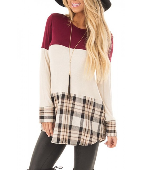 Amelitory Contrast T Shirts Blouses Burgundy
