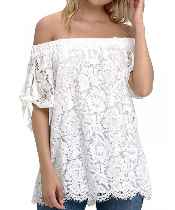 StyleDome Strapless Shoulder Elegant Crochet