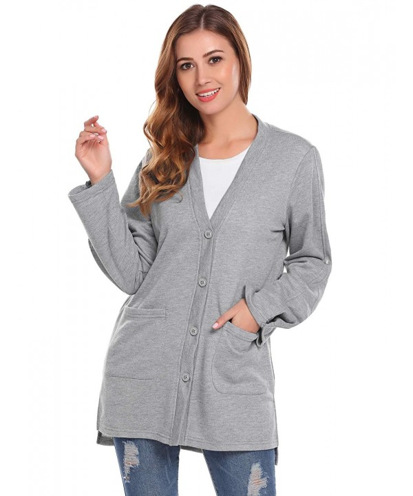 Mofavor Womens V Neck Sleeve Cardigan