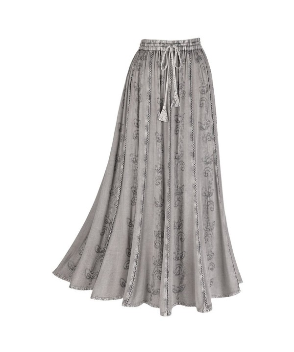 Womens Embroidered Broom Peasant Skirt