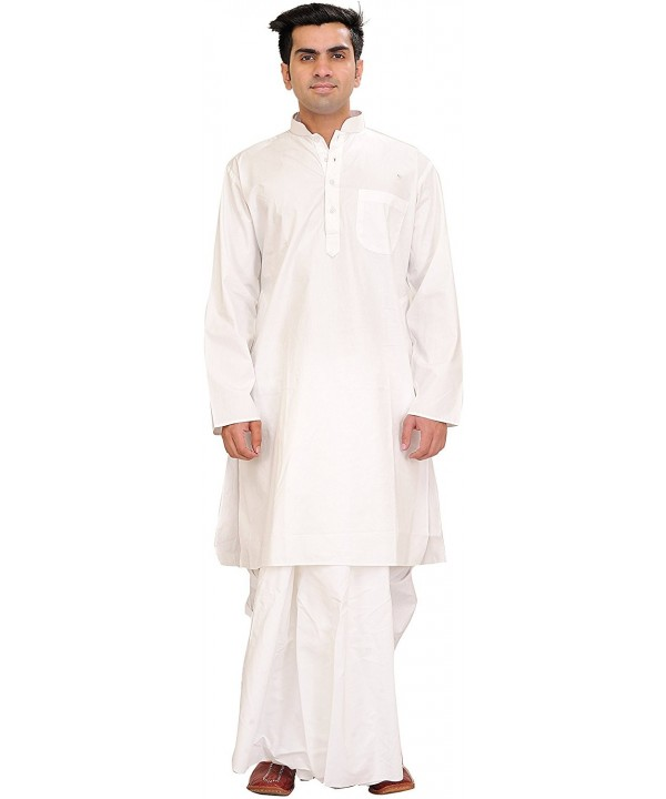 Exotic India Bright White Plain Dhoti