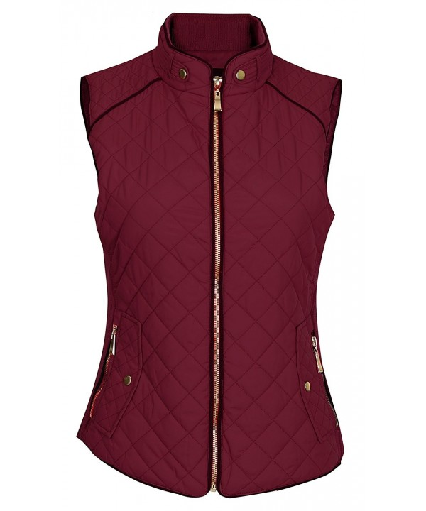 Pinmuse Womens Quilted Pockets Burgundy