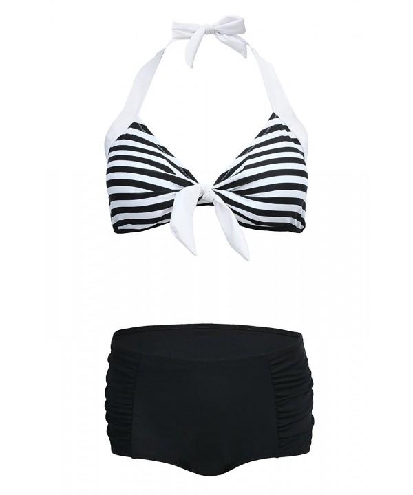 QingLemon Striped Backless Swimsuit Blackstripe