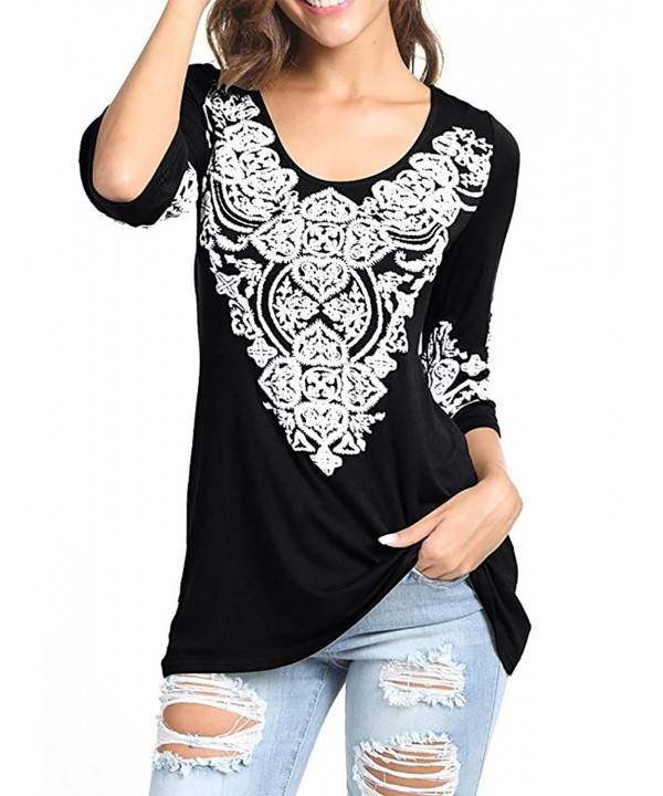 EMVANV Blouses Printed Modesty Slimming