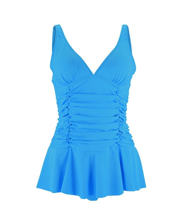 COSPOT Blue Plunge Skirted Swimsuit