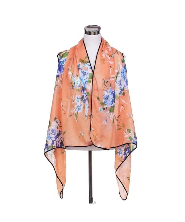 TrendsBlue Elegant Chiffon Floral Cardigan
