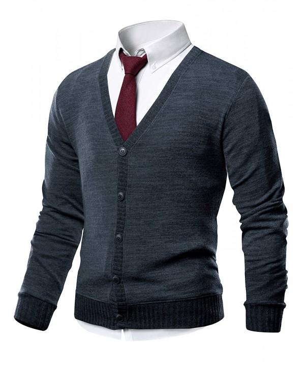 HARRISON83 V Neck Cardigan Sweater NS1088 CHARCOAL XL