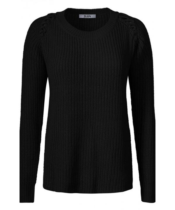 2LUV Womens Sleeve Shoulder Sweater