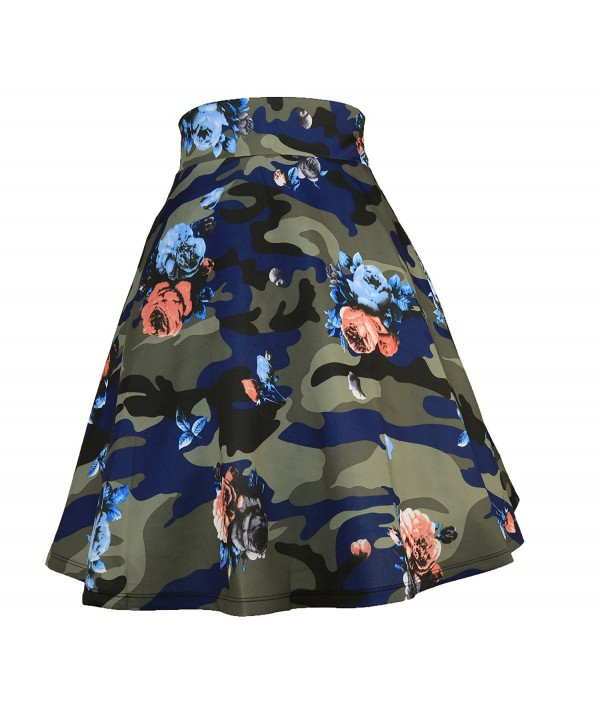 Elastic Waist Pleated Skater a Line Midi Skirts For Women With Plus Size -  Camouflage - CY187NTAIRL