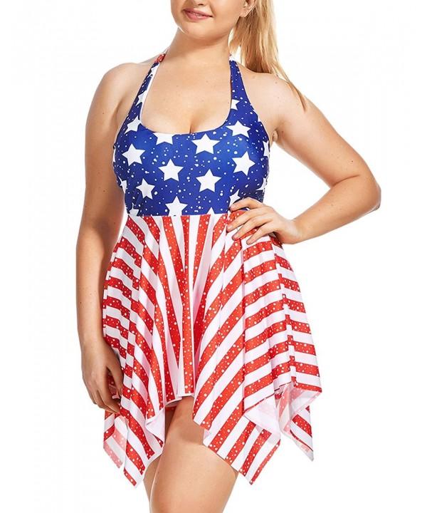 ZDUND Plus Size Boyshort American Swimsuit