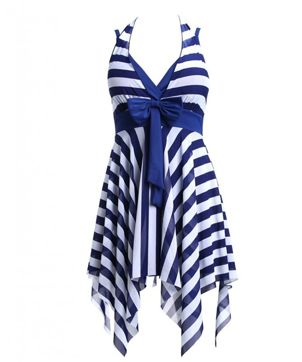 Navy Blue White Stripes Swim Dress Plus Size Swimwear One Piece Swimsuit -  CW121DMFDO3