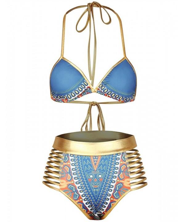 Huiyuzhi African Metallic Swimsuit Blue gold