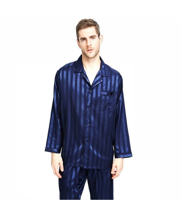 Mens Silk Satin Pajamas Set Sleepwear Loungewear Striped S~4XL Plus ... e1101bc92