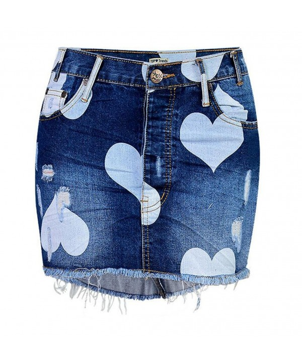 Womens Button Heart Denim Skirt