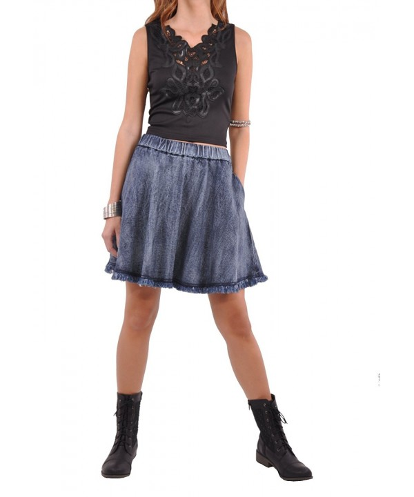 Style Flare Denim Skirt Brushed Blue 30