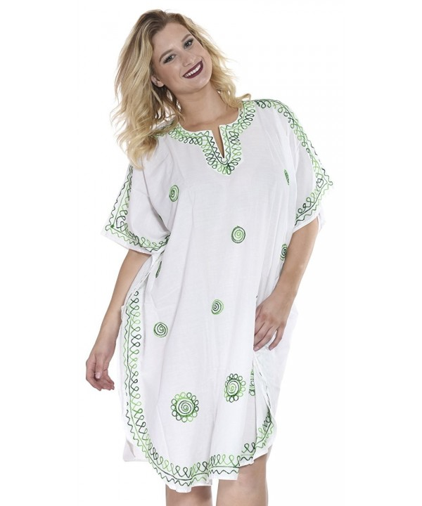 Women Embroidered Swimwear Beach Caftan