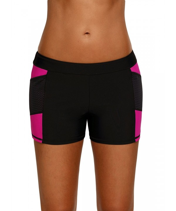 EVALESS Womens Shorts Colorblock Swimwear