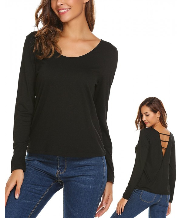 Womens Black Sleeve Backless T Shirt