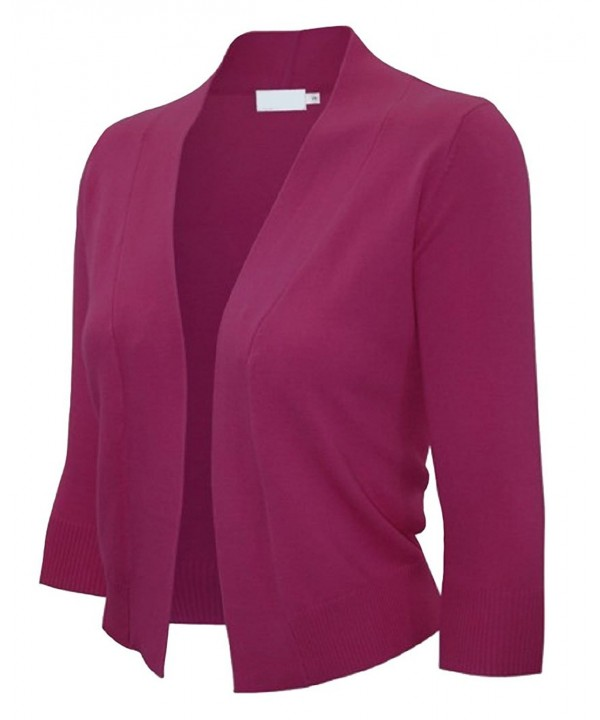 Ever77 Womens Sleeve Cardigan TC1016 Magenta