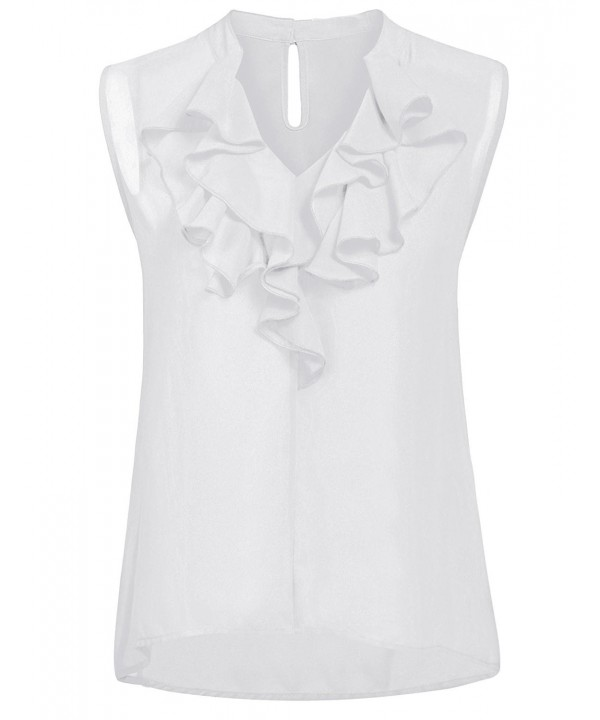ThinIce Womens Sleeveless Ruffle Chiffon