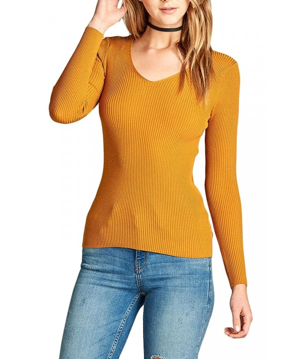Womens Sleeve V Neck Sweater 68_Mustard