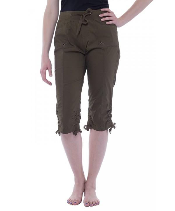 Womens Elastic Waist Drawstring Pockets