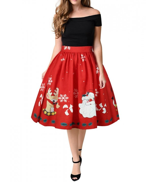 WLLW Vintage Christmas Pleated Flared