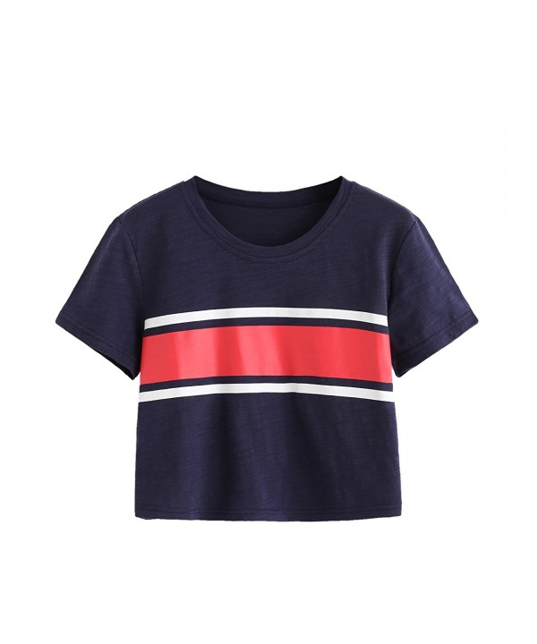 MakeMeChic Womens Contrast Striped T Shirt