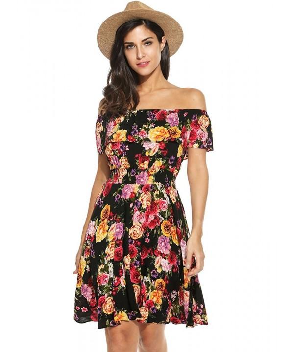 Womens Summer Shoulder Floral Ruffles