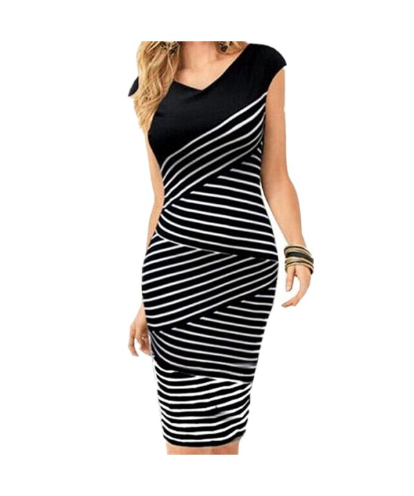 Striped Bodycon Cocktail Clubwear Stripes