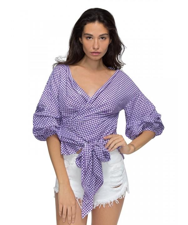 Choies Purple Ruffle Bow Waist Vintage
