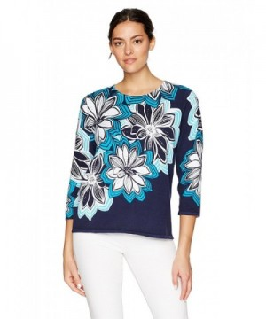Alfred Dunner Womens Floral Sweater