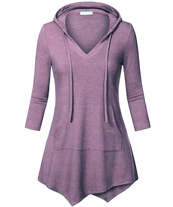 b2205c8a1 Women's 3/4 Sleeve Kangaroo Pocket Pullover Hoodies Shirts Casual ...