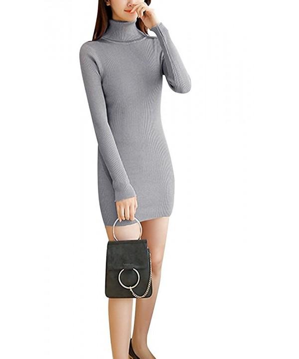 Mojessy Turtleneck Sweater Dresses Bodycon