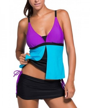 Womens Fashion Tankini Swimsuit SNS333 Purple Large