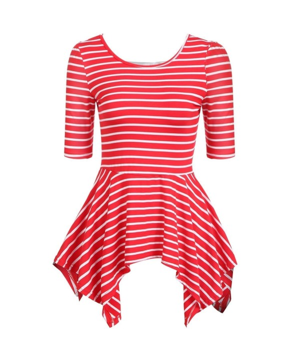 Elesol T shirt Striped Backless Blouses
