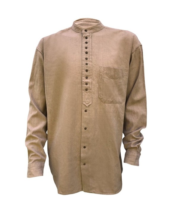 Irish Grandfather Collarless Shirt Clay
