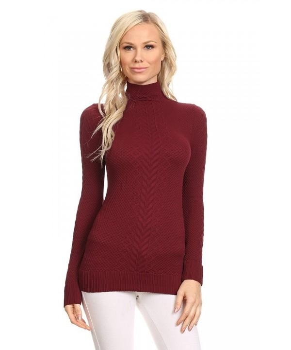 ITZON Juniors Turtleneck Sweater Burgundy