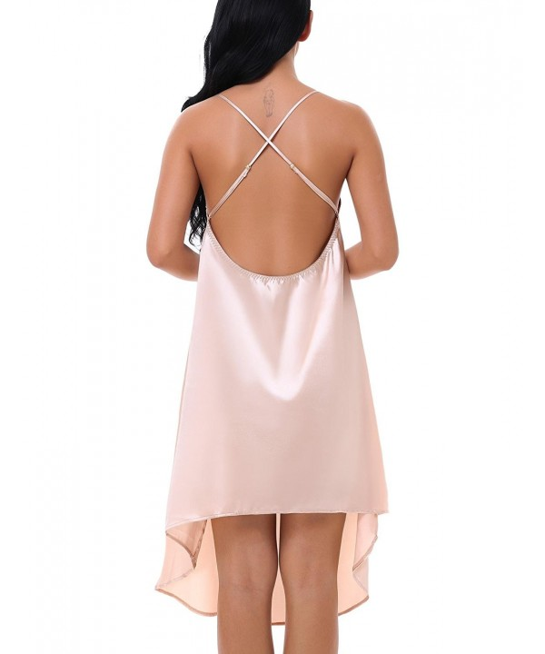 d7b3b4dde9 Women s Satin Long Chemise Lingerie Sleepwear Slip Nightgown S-XXL ...