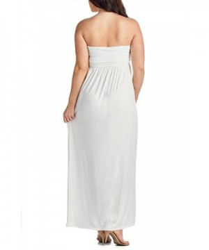 Women\'s Plus Size Comfortable Maxi Tube Dress - White - C417Y0C7NK9