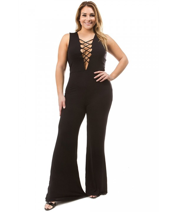Bubble Spandex Wide Leg Sleeveless Jumpsuit