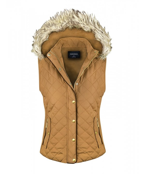 makeitmint Womens Quilted Padding YJV0004_04Camel