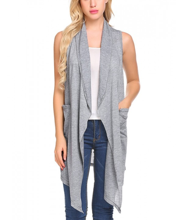 Jeere Womens Sleeveless Asymetric Cardigan