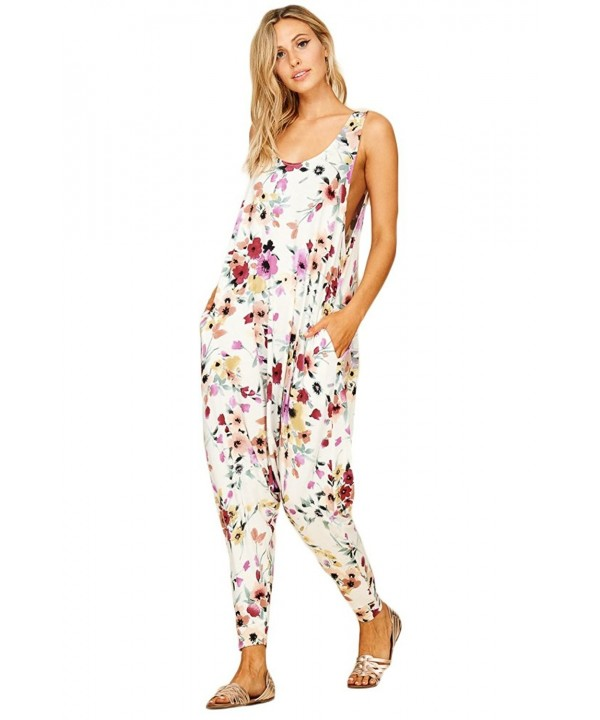Annabelle Printed Sleeveless Jumpsuits Pockets
