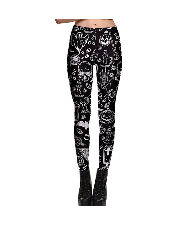 Slocyclub Halloween Skeleton Length Leggings