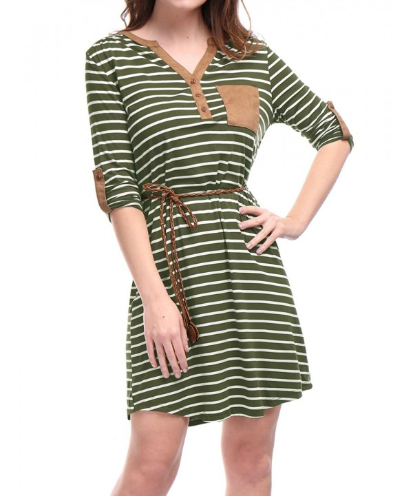 Allegra Womens Sleeves Button Stripes