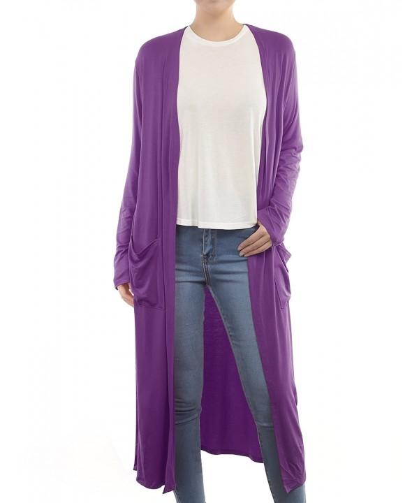 B I L Y Womens Pockets Cardigan Purple