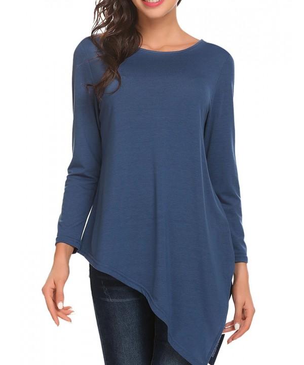 fe69d50f0c4 ... Women s Long Sleeve Round Neck Handkerchief Hem Knit Casual Tunic Top  Blouse - Blue - CI187EDUMQW. On sale! New. Unibelle Womens Casual Pullover  ...