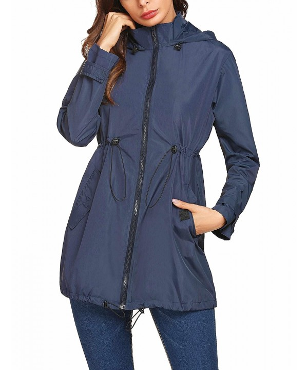 bc826566ac0 ... Women s Lightweight Waterproof Raincoat Hoodie Rain Jacket Outdoor  Anorak Windbreaker - Navy Blue - C51898QE6WS. On sale! New. Mofavor  Waterproof ...